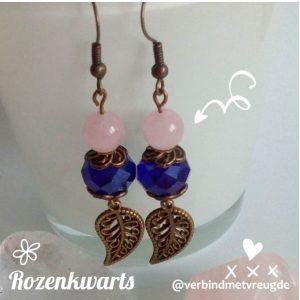 bronzen oorbellen met rozenkwarts